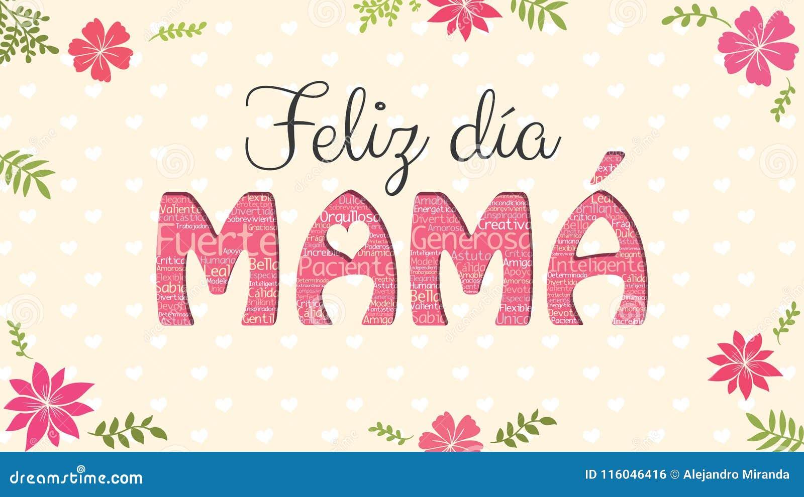 Feliz Dia MAMA - Happy Day MOM In Spanish Language - Greeting Card ...