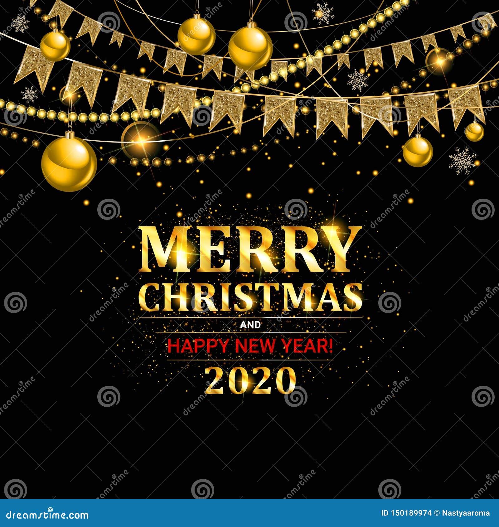 Feliz Fiesta De Navidad Y Feliz Año Nuevo 2020 Ilustración