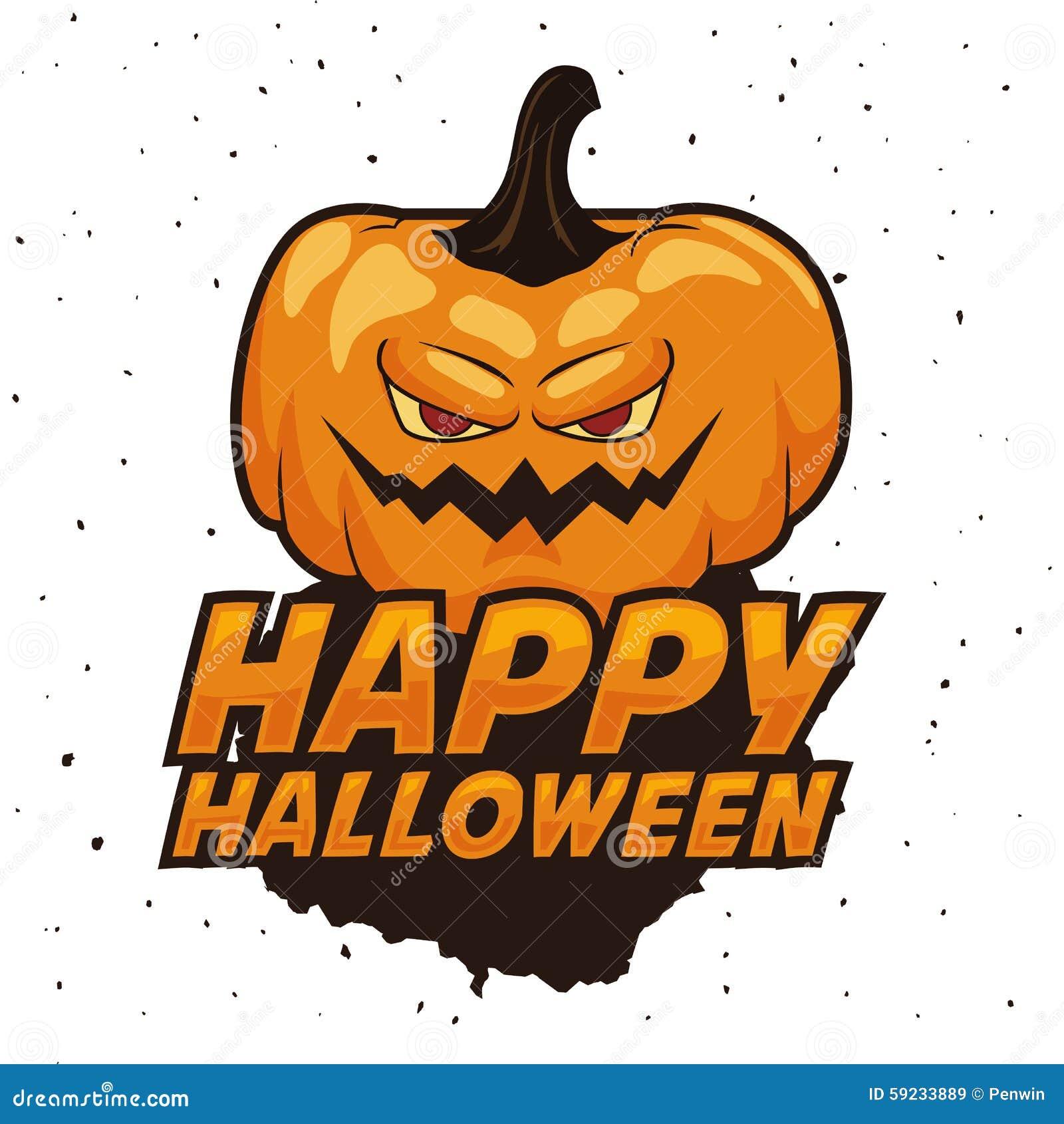 Download Feliz Halloween Con La Calabaza Fantasmagórica Ilustración del Vector - Ilustración de otoño, cartel: 59233889