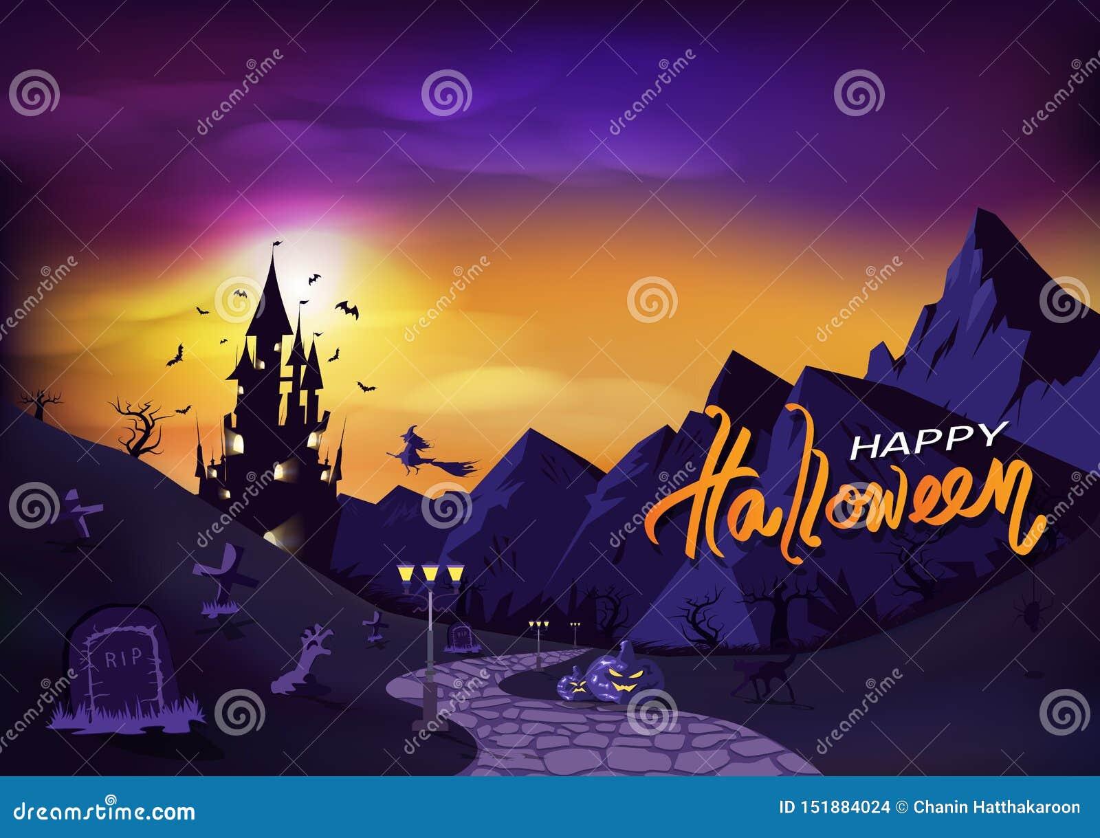 Feliz Halloween, invitación del cartel de la fantasía, tarjeta de felicitación, ejemplo del vector del fondo