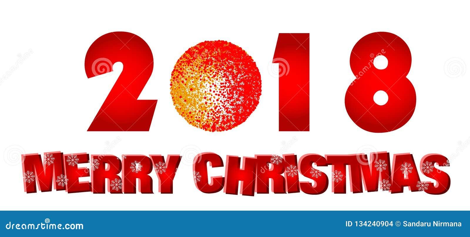 Feliz Natal 2018 ícones de cumprimento do projeto do texto no fundo branco