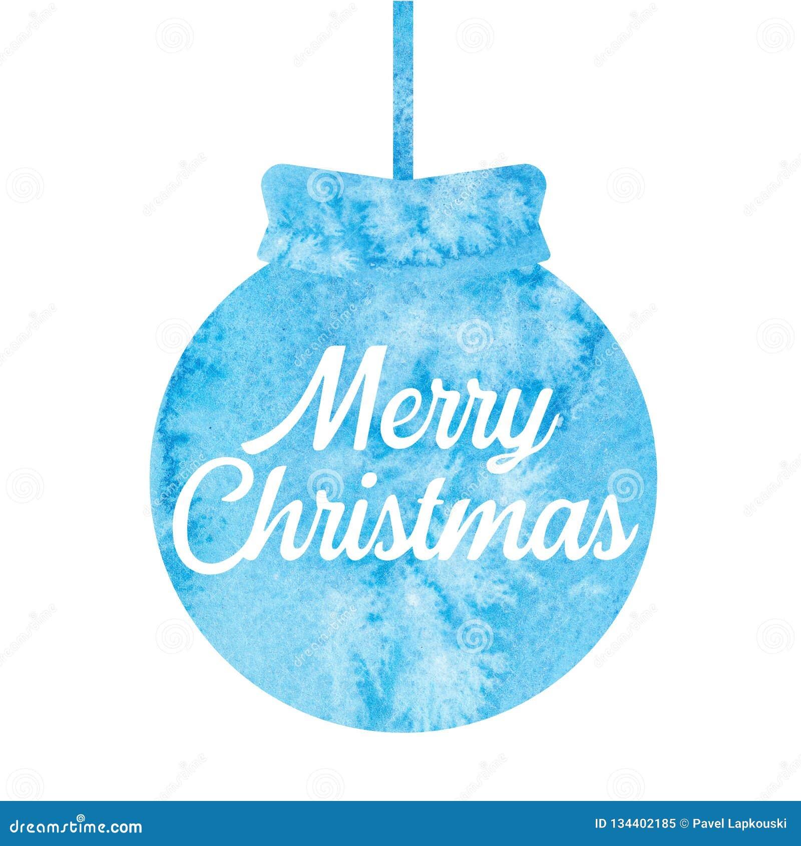 Feliz Natal Cumprimentando o cartão de Natal com bola do Natal watercolor