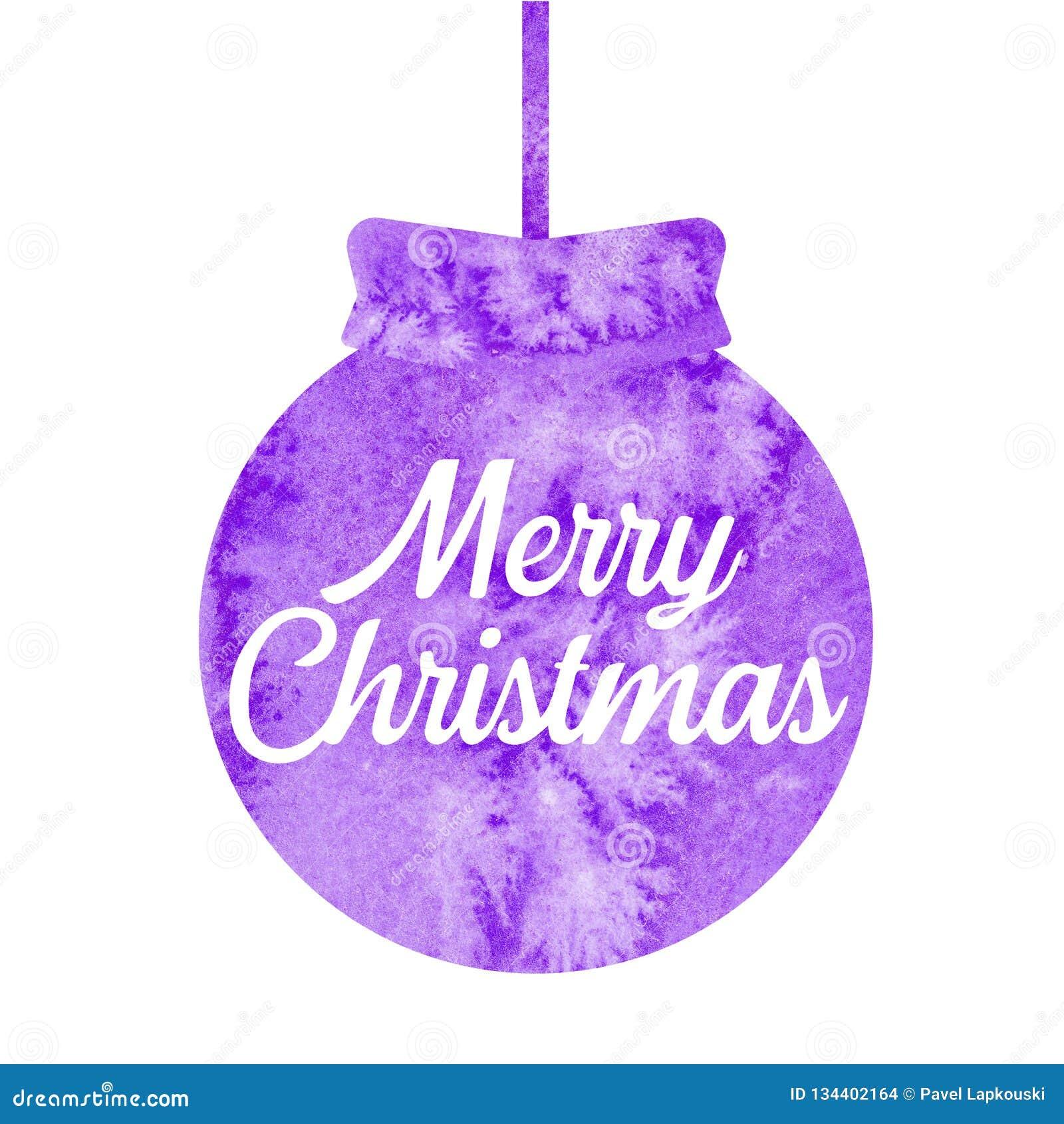 Feliz Natal Cumprimentando o cartão de Natal com a bola roxa do Natal watercolor