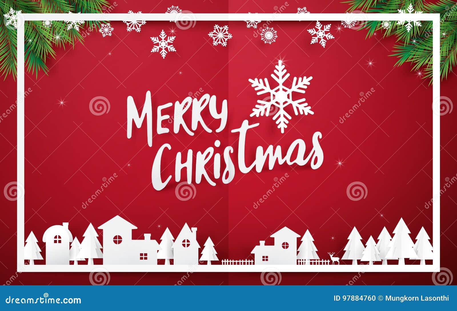 Feliz Natal e ano novo feliz Feliz Natal que rotula com as árvores de Natal no fundo vermelho estilo de papel da arte e do origâm