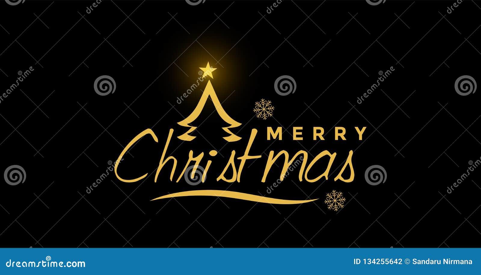 Feliz Natal e cumprimento do projeto do texto no ícone colorido ouro no fundo preto abstrato