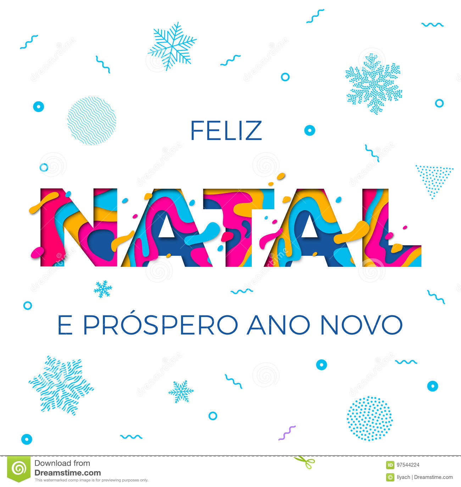 Feliz Natal Merry Christmas Portuguese-Grußkarten-Vektor Papercut ...