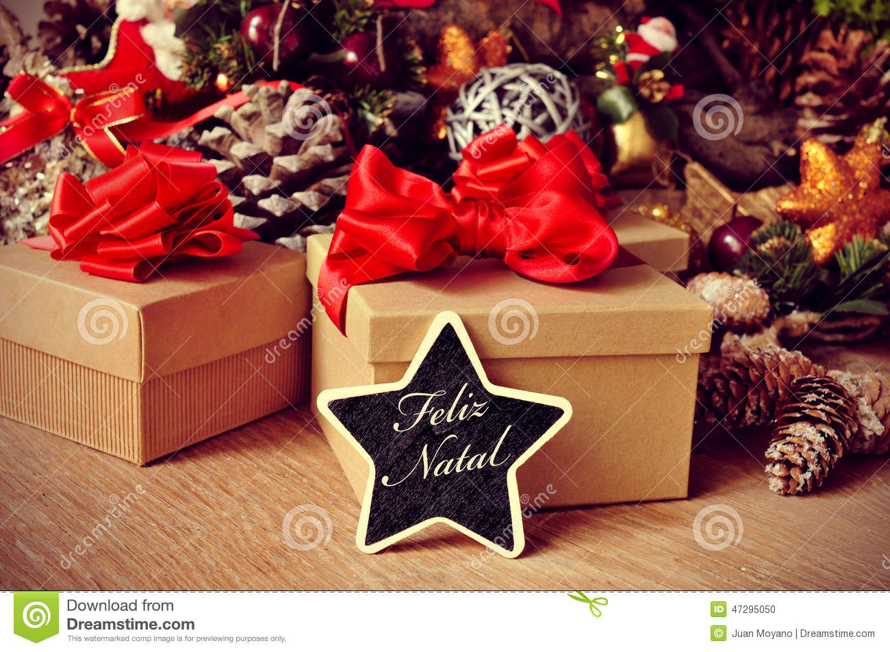 Feliz Natal, Merry Christmas In Portuguese Stock Photo - Image ...