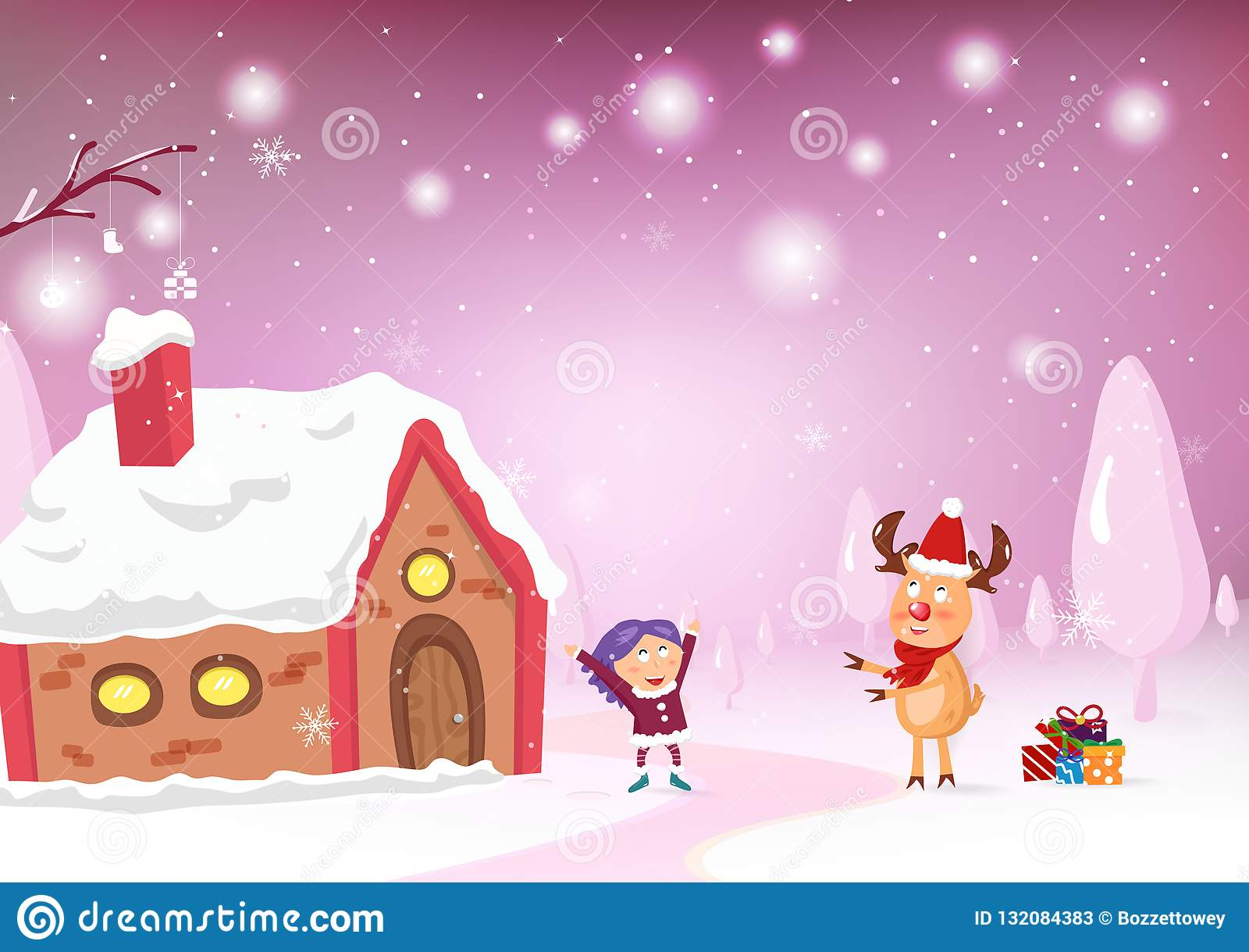 Feliz Natal, personagem de banda desenhada da rena para dar um celebrat do presente