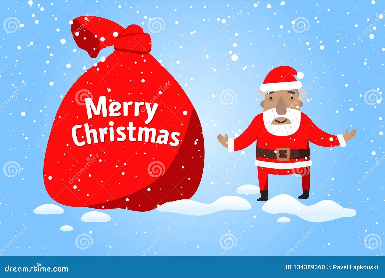 Feliz Natal Santa Claus com um saco grande de presentes na cena da neve do Natal
