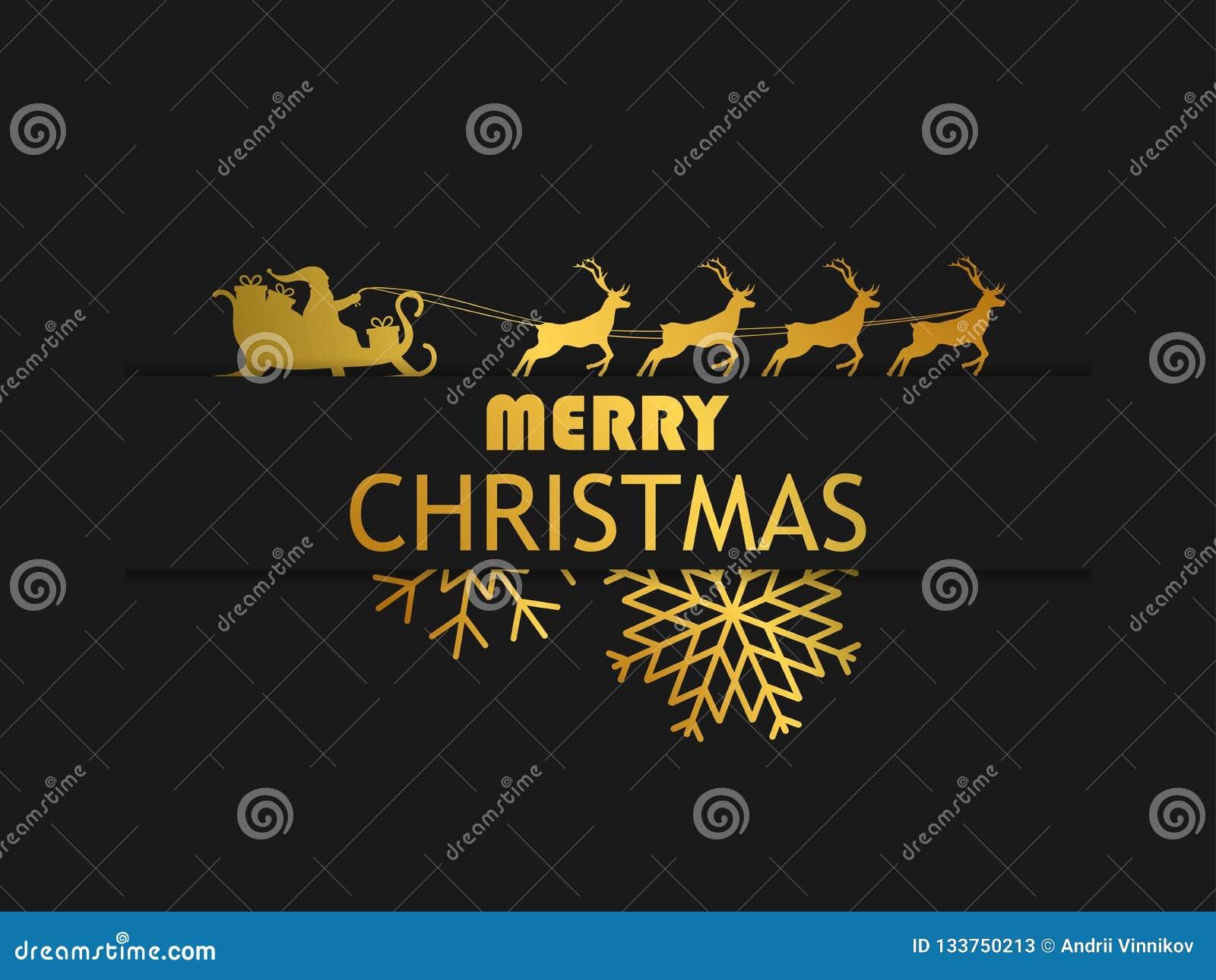 Feliz Natal Santa Claus em um trenó com a rena no fundo preto Molde do projeto de cartão com inclinação dourado