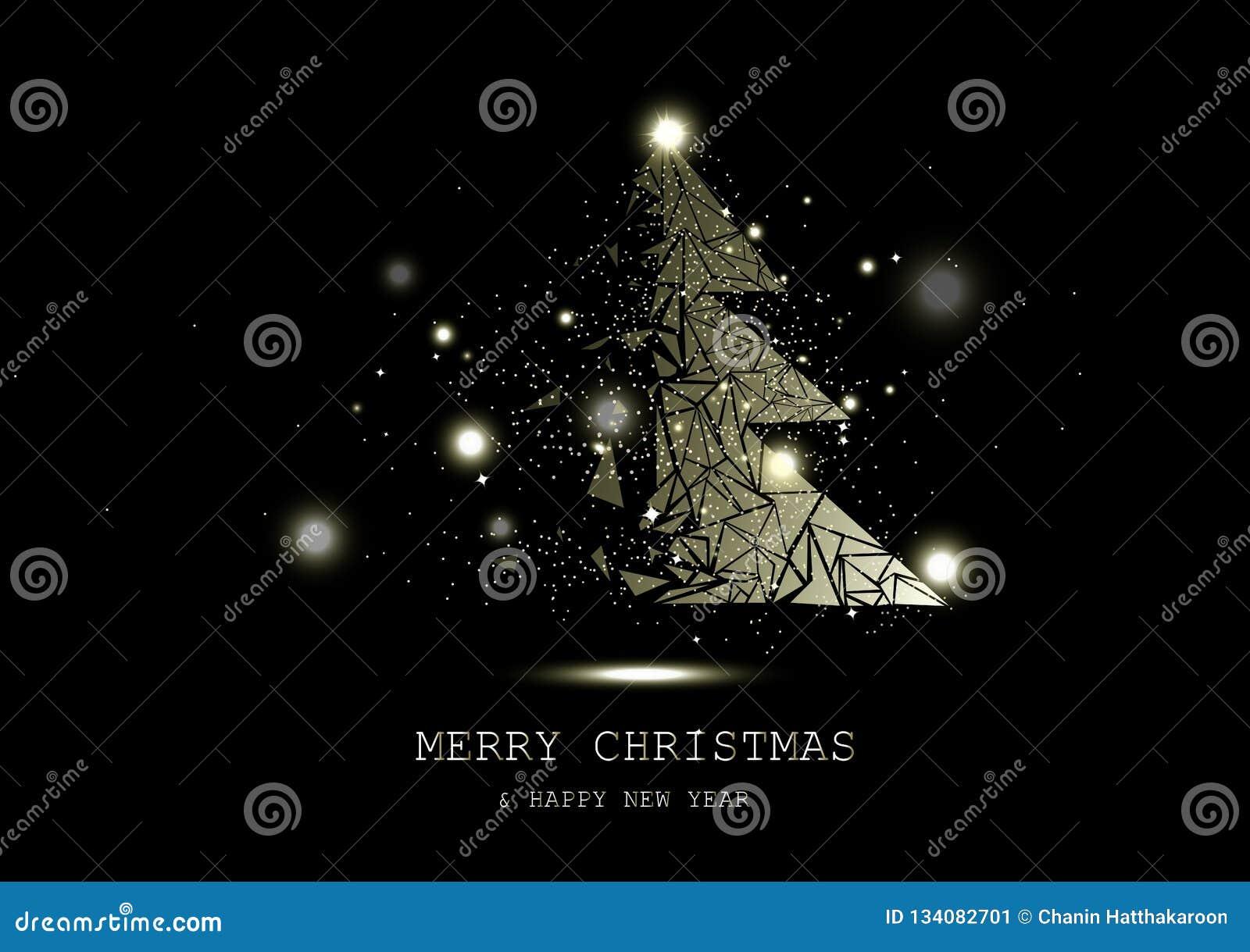 Feliz Natal, sumário luxuoso de incandescência dourado dos conceitos do milagre da fantasia da árvore, das estrelas faísca dos co