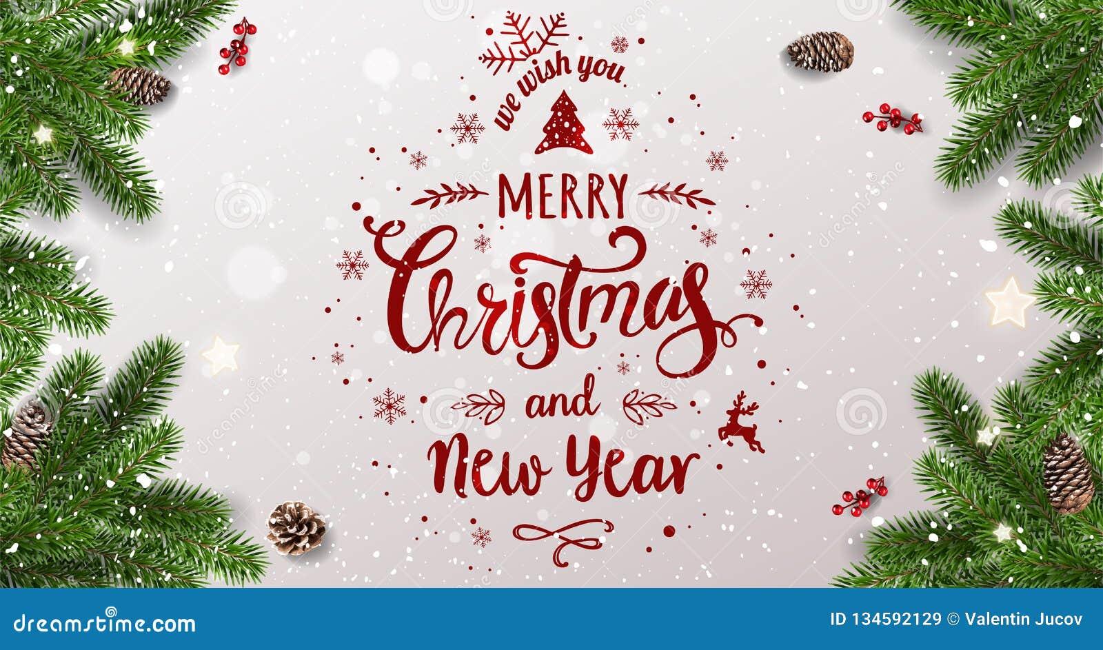 Feliz Natal tipográfico no fundo branco com ramos de árvore, bagas, caixas de presente, estrelas, cones do pinho Xmas e ano novo