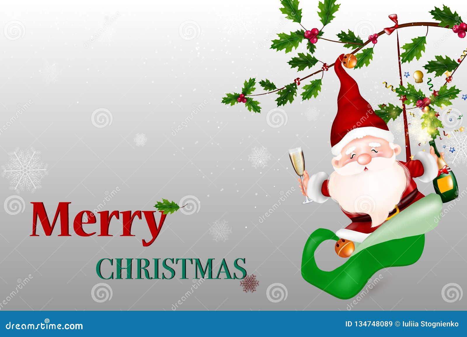 Feliz Natal Vector Santa Claus de sorriso feliz que guarda um sinal vazio