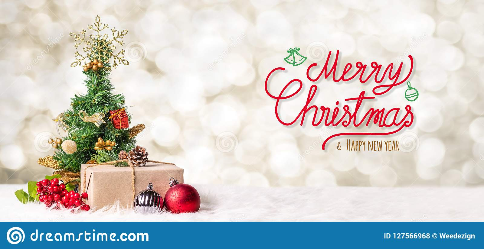 Feliz Natal vermelho e escrita do ano novo feliz com tre do xmas