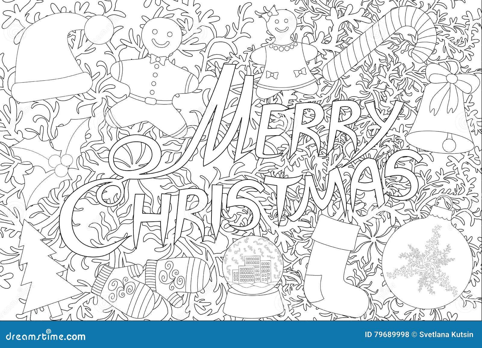 Feliz Navidad Aislada En El Fondo Blanco Para El Libro De Colorear ...