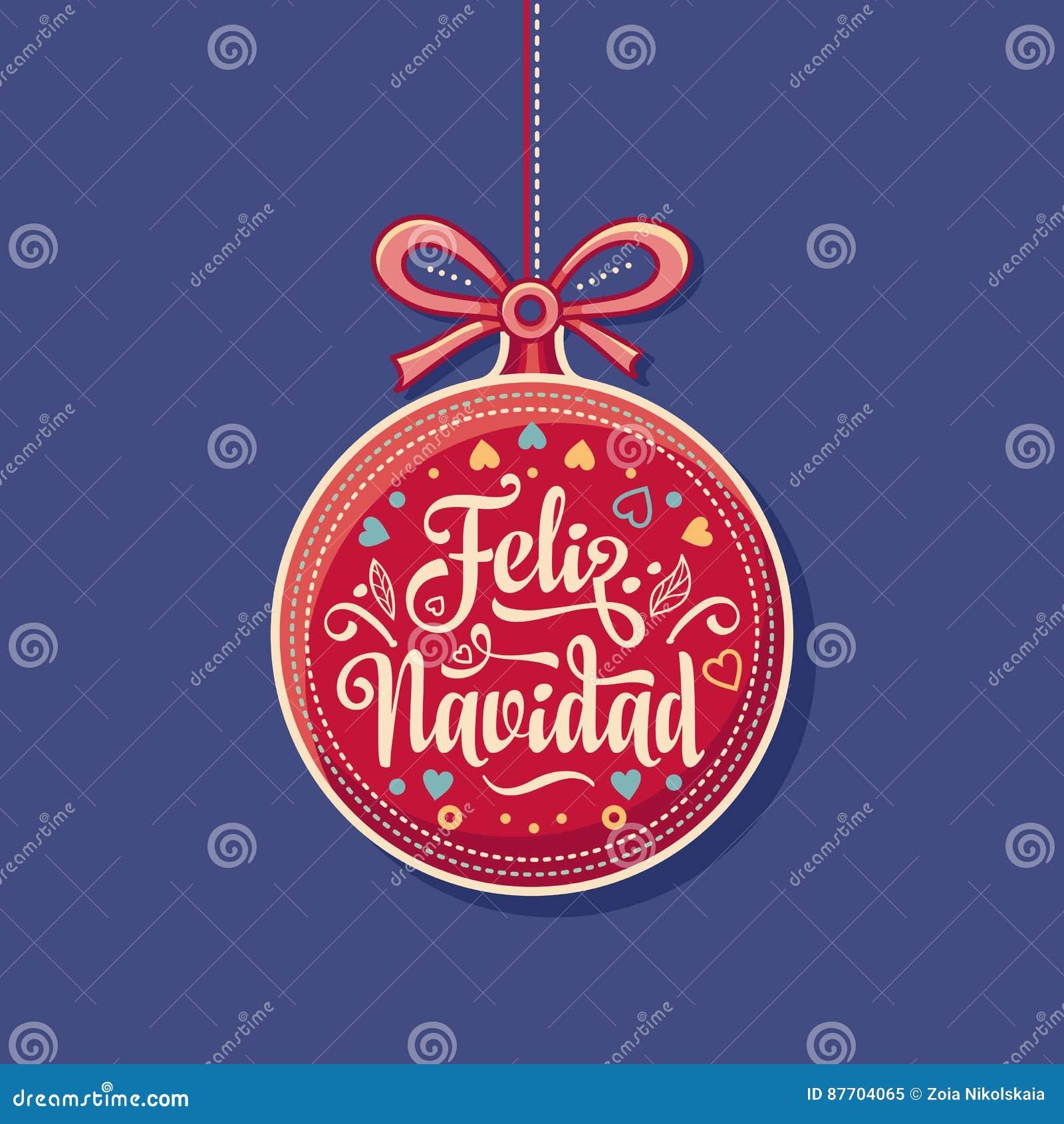 Feliz Navidad Boule rouge de Noël avec de bons souhaits dans l Espagnol