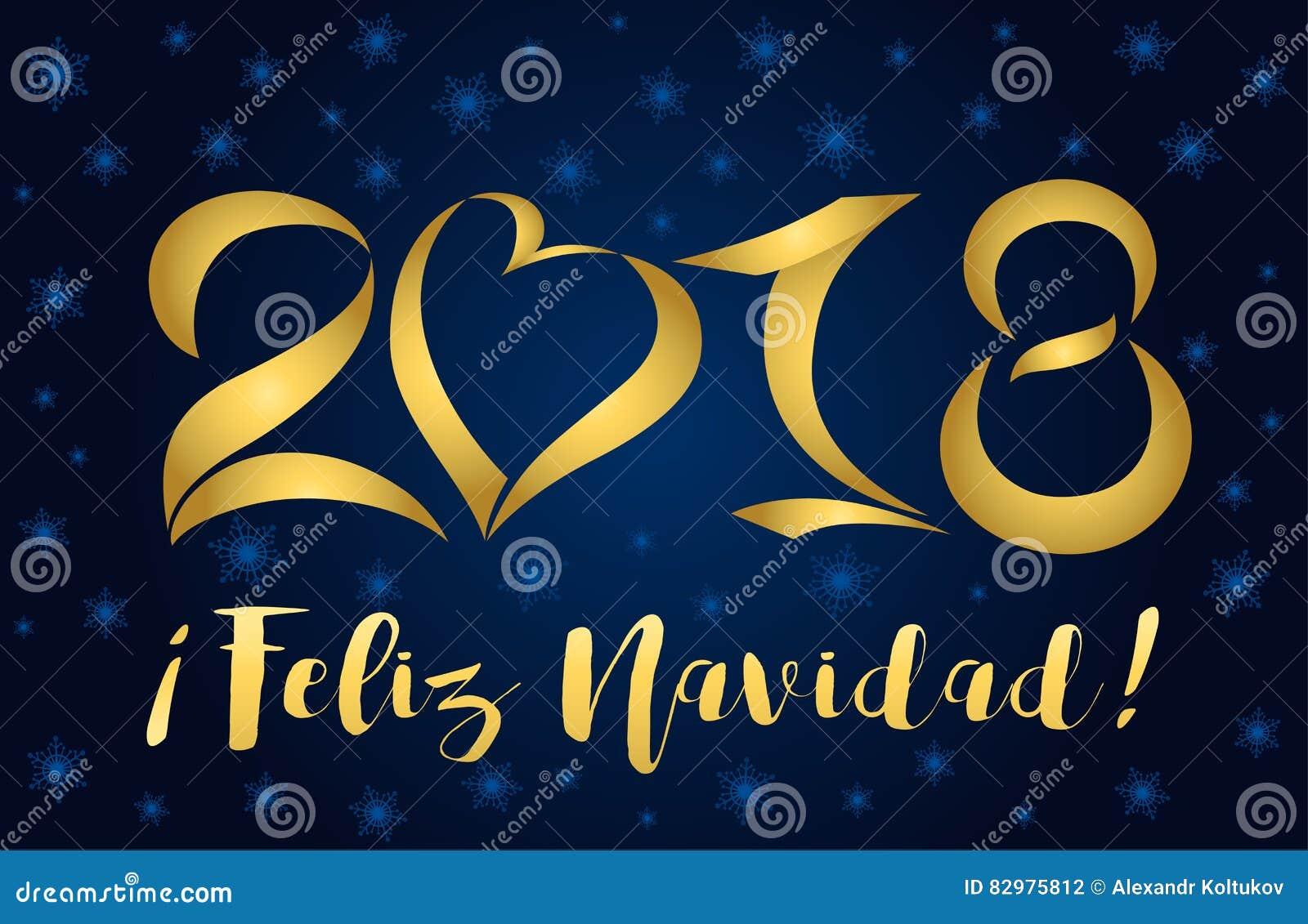 Navidad 2018 2018 Feliz Navidad Card Golden Figures Stock Vector   Illustration  Navidad 2018