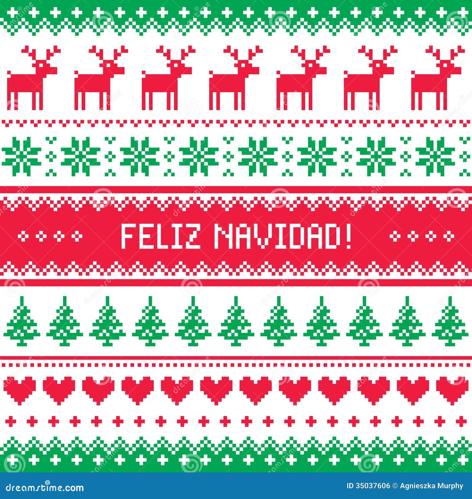 Feliz Navidad Card - Scandynavian Christmas Pattern Royalty Free ...
