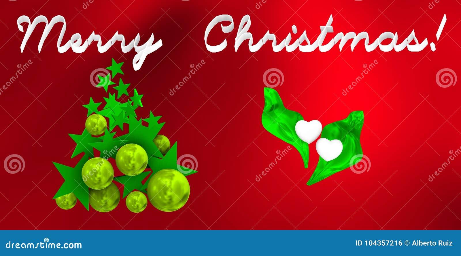 Bolas De Navidad Rojas Sobre Fondo Verde: Feliz Navidad Con El árbol Verde Sobre Fondo Rojo Stock