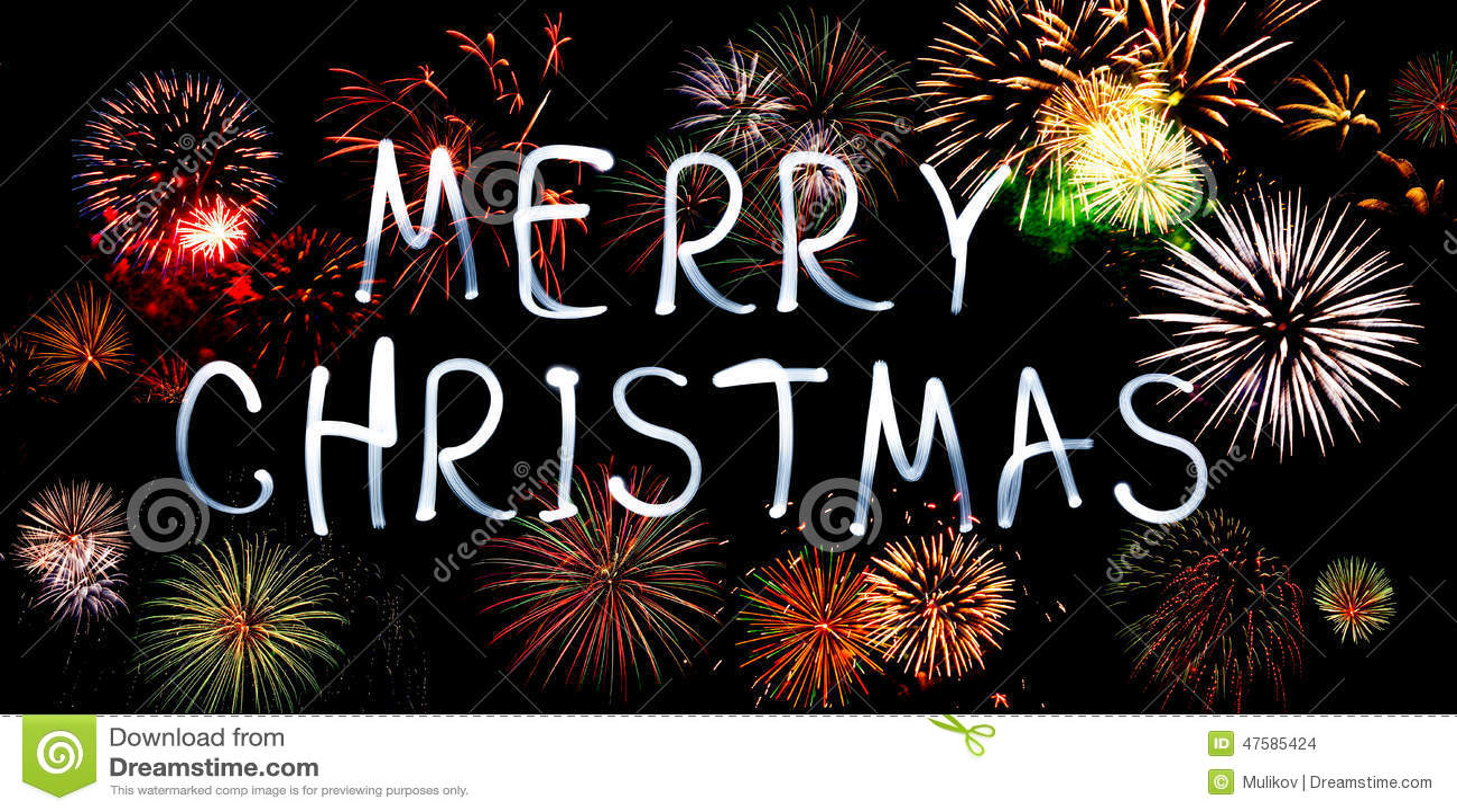 Feliz Navidad Con Los Fuegos Artificiales Foto De Archivo Imagen