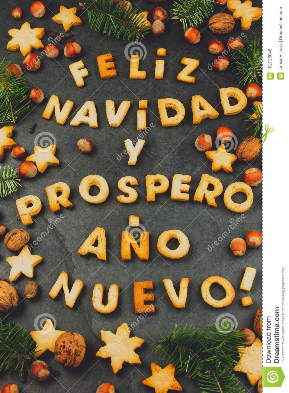 words text merry christmas and happy new year en spanish with - Merry Christmas And Happy New Year In Spanish