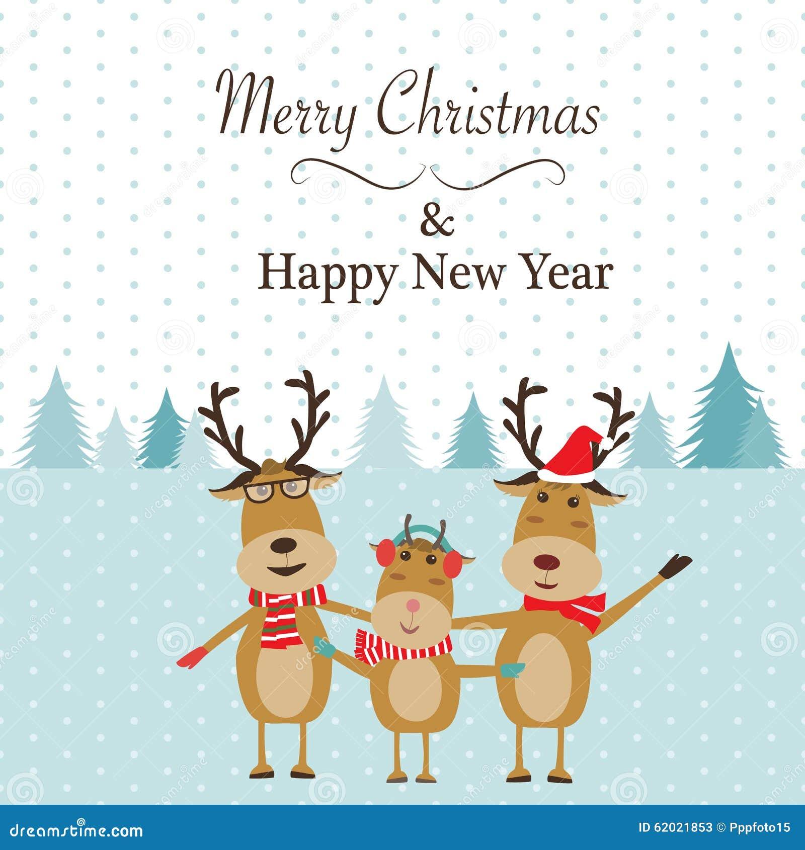 A Very Merry Borik�n Christmas: Feliz Navidad De La Familia Del Reno Ilustración Del
