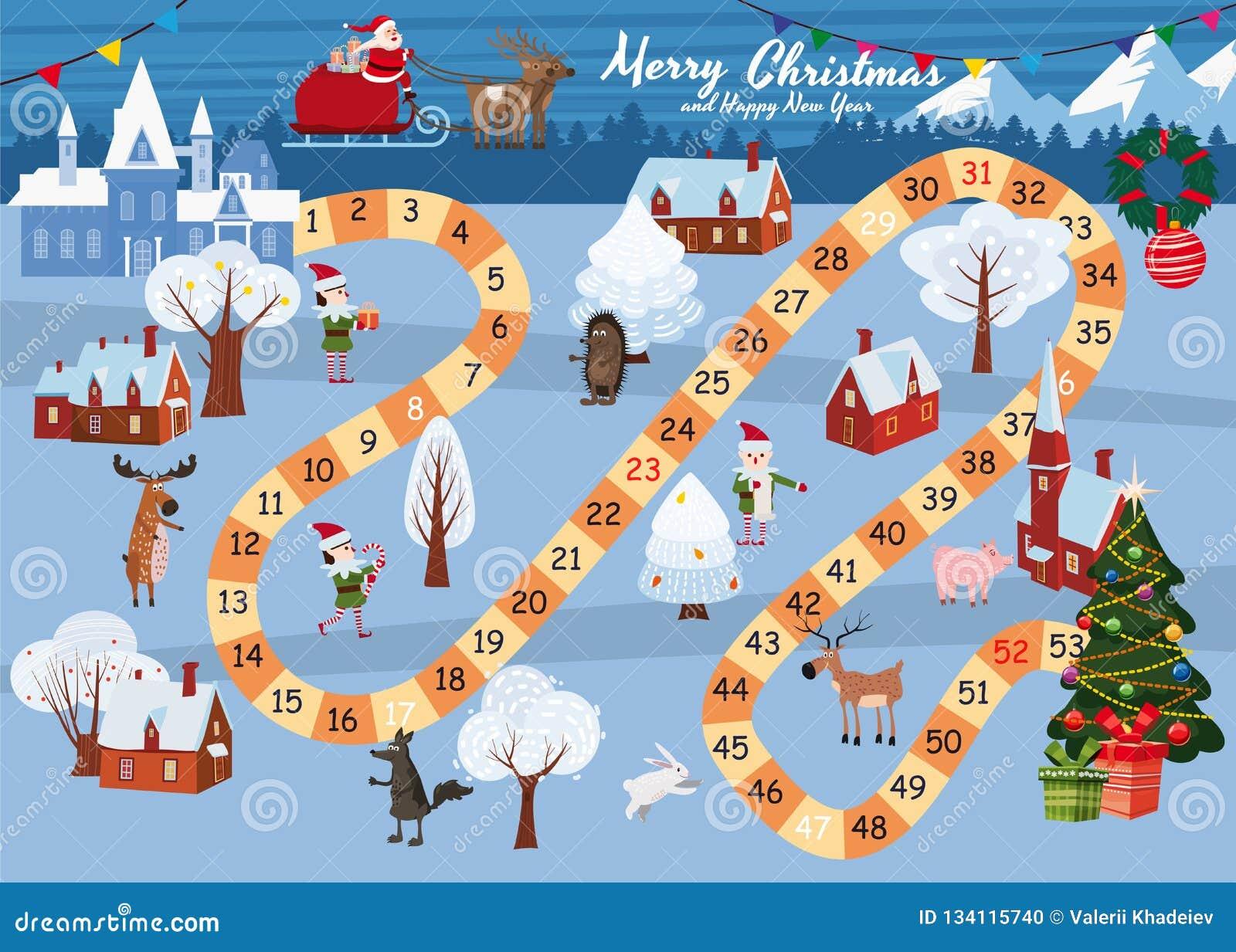 Feliz Navidad Del Juego De Mesa Y Feliz Ano Nuevo Santa Claus En Un Trineo En Los Paseos Magicos De Los Ciervos Con El Invierno Ilustracion Del Vector Ilustracion De Icono