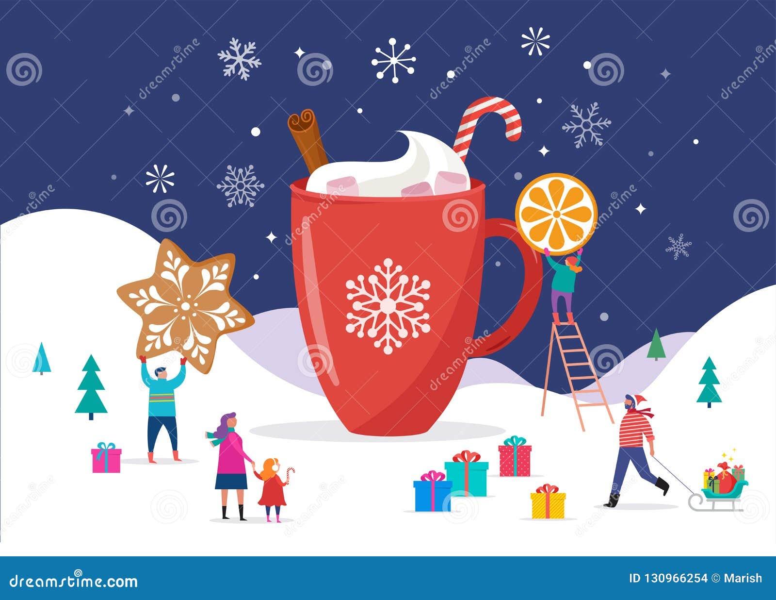 Feliz Navidad, escena del invierno con una taza grande del cacao y una pequeña gente, hombres jovenes y mujeres, familias que se