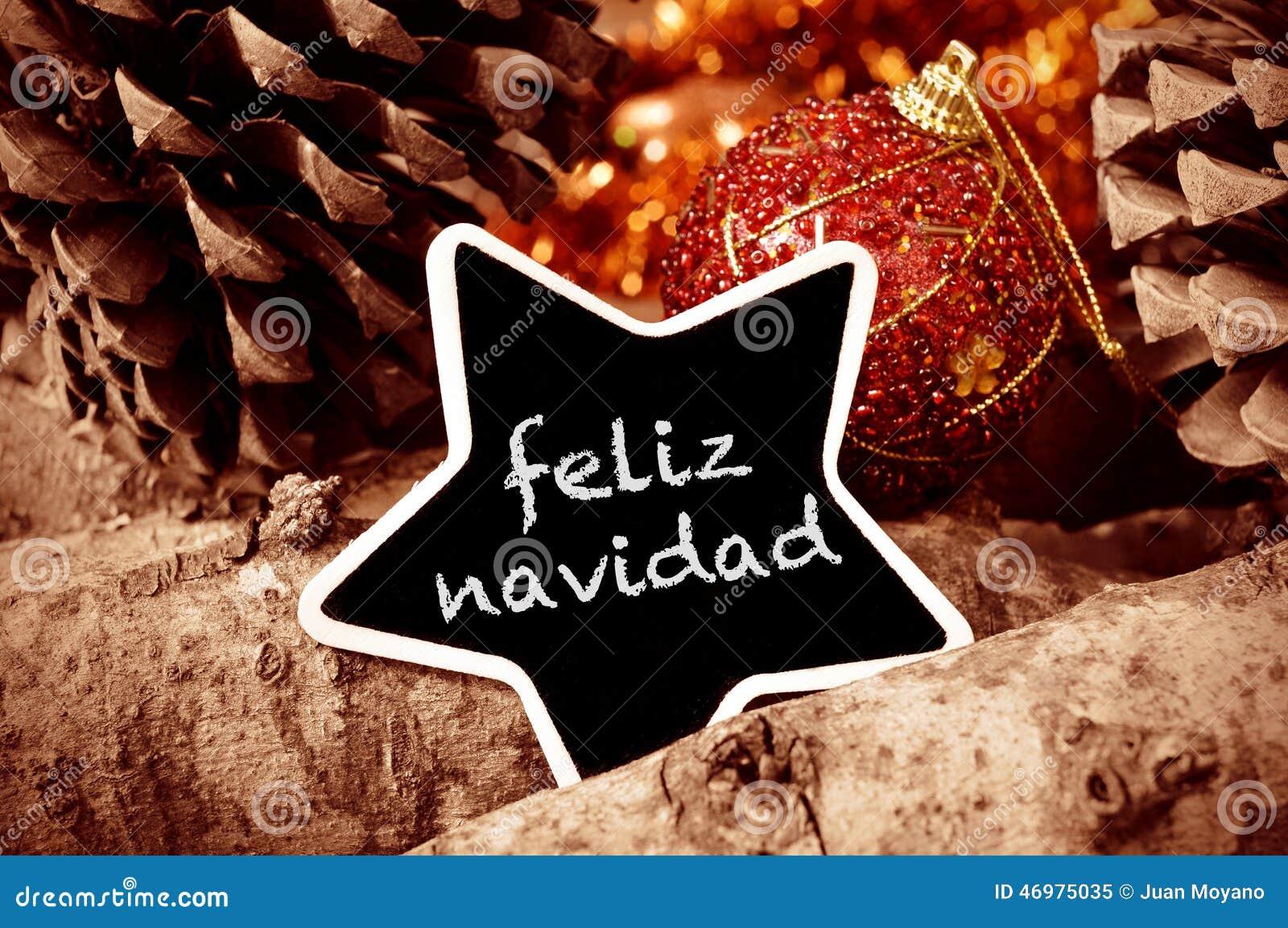 feliz navidad frohe weihnachten auf spanisch stockbild