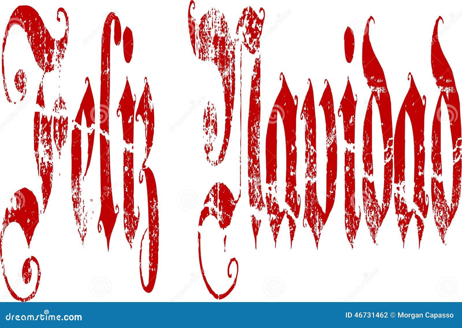 Feliz Navidad Gothic Script Lettering Vektor Abbildung ...
