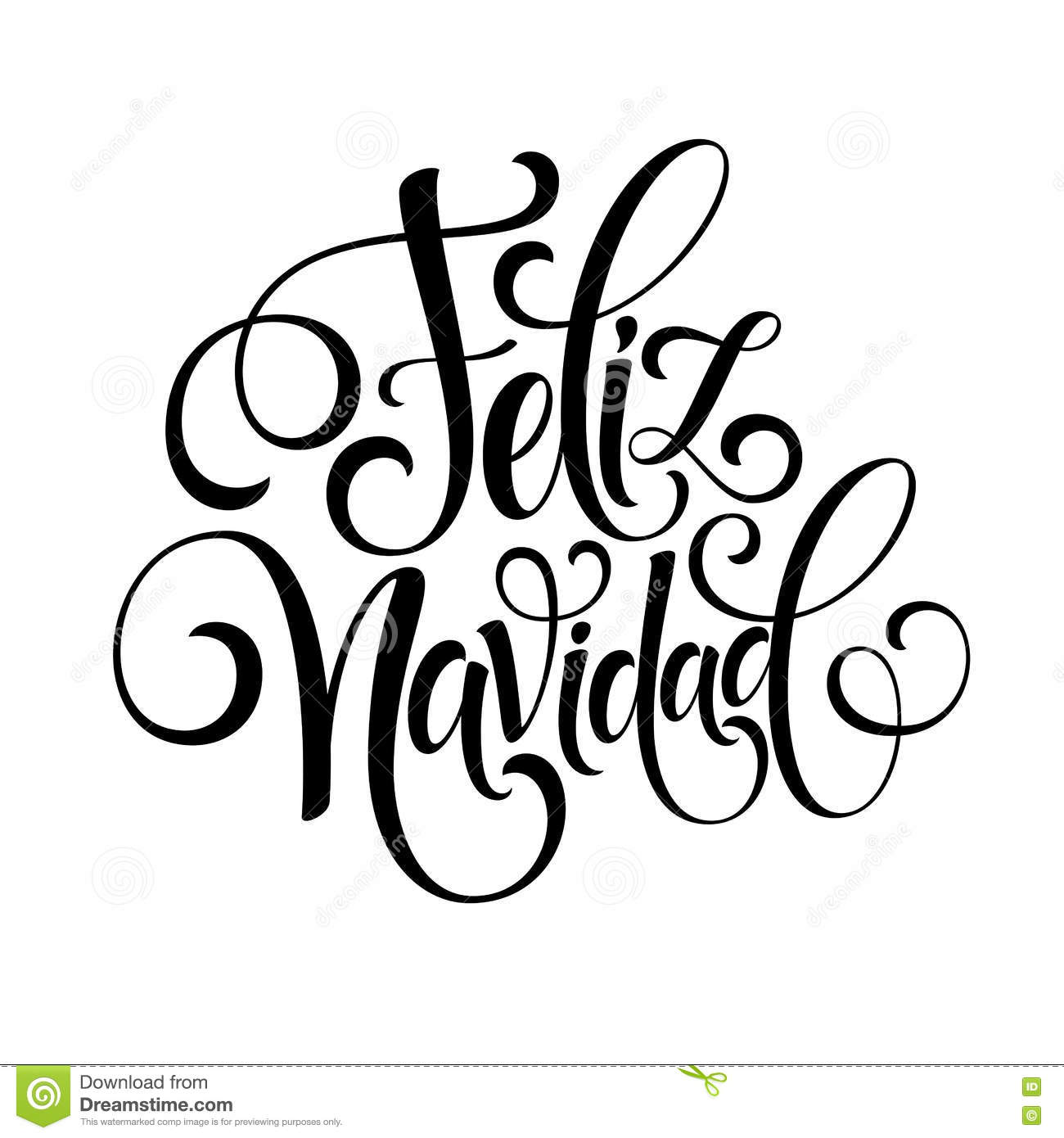 feliz navidad hand lettering decoration text for greeting card design template merry christmas typography label