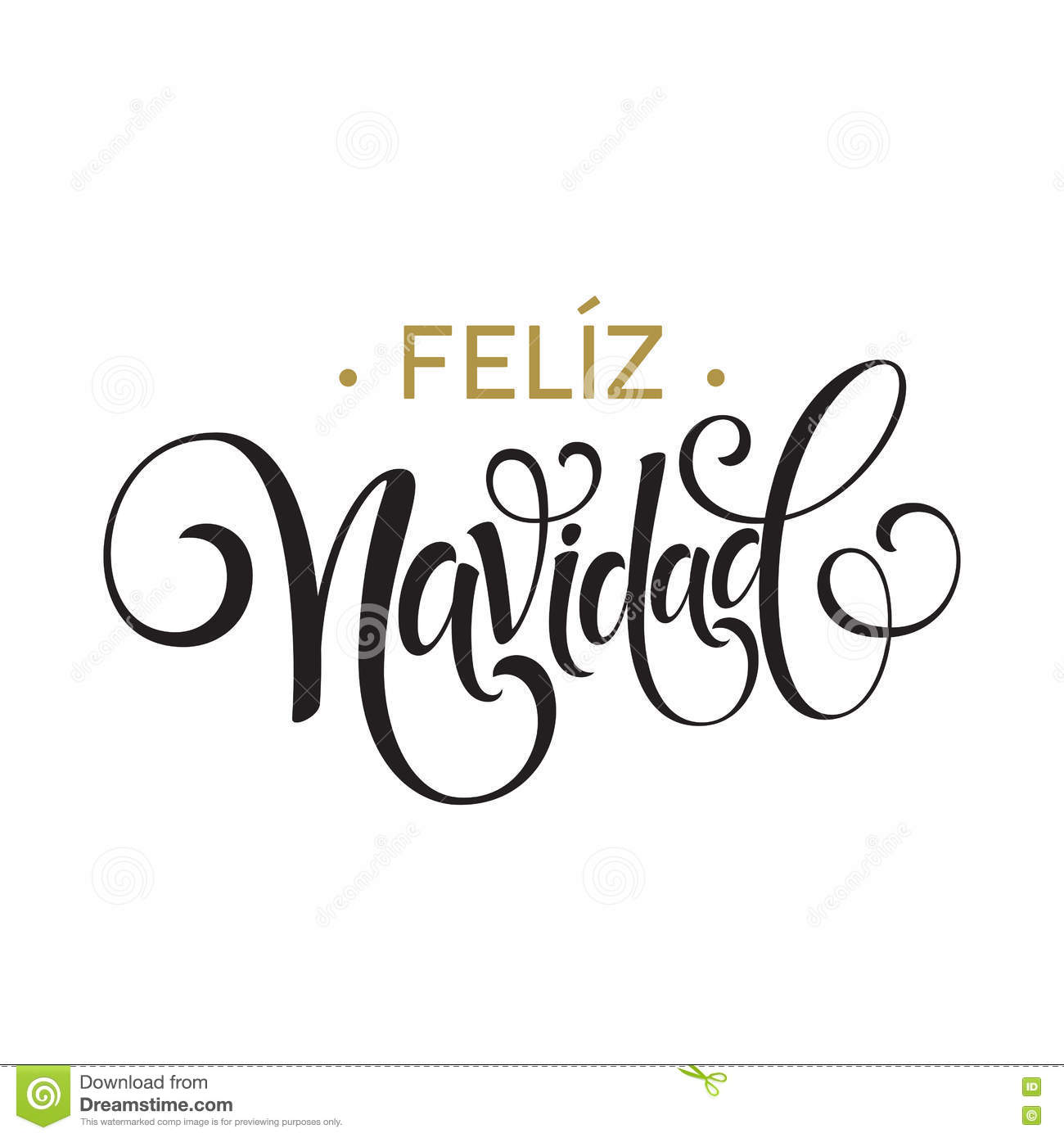 feliz navidad hand lettering decoration text for greeting card design template merry christmas