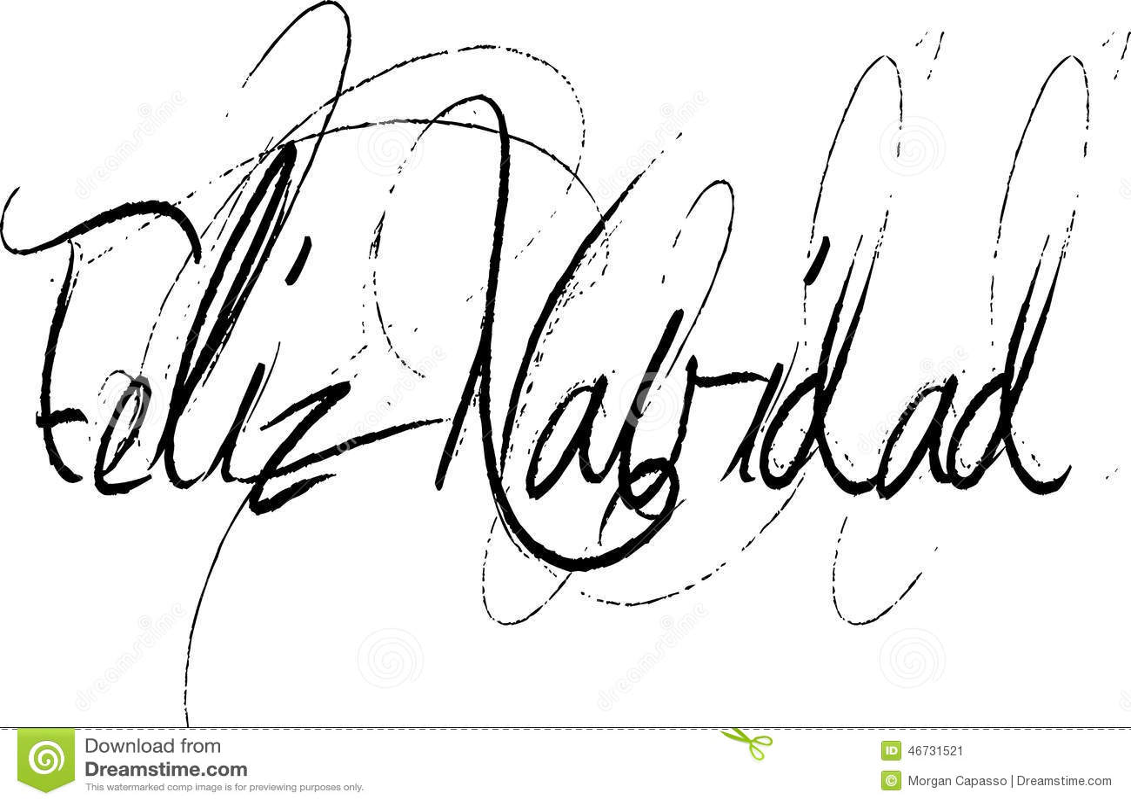 Feliz Navidad In Handwritten Script Stock Vector Image