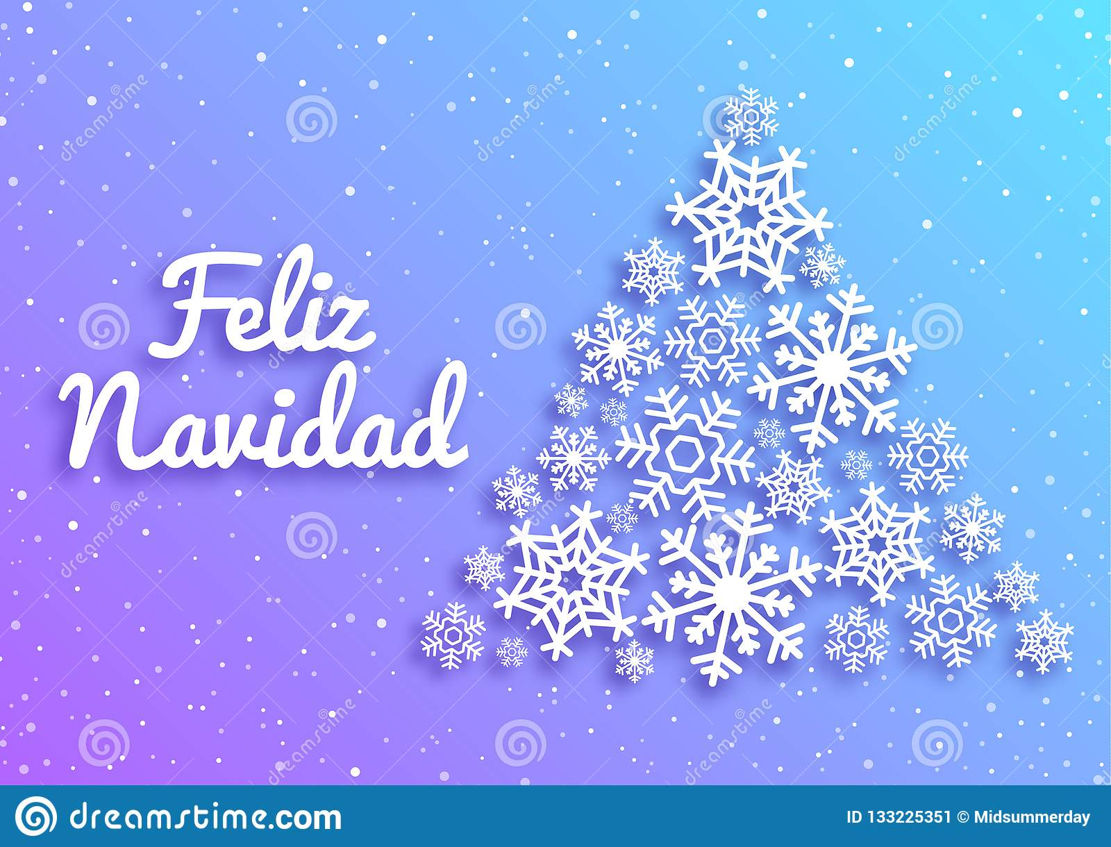 Feliz Navidad Merry Christmas Card With Greetings In Spanish