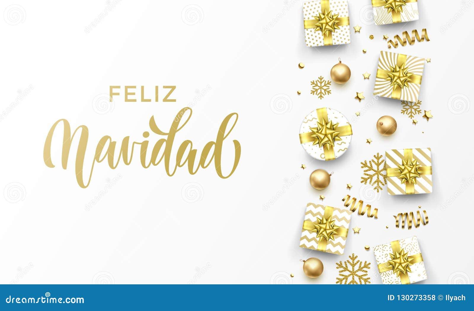 Feliz Navidad Merry Christmas Spanish golden greeting card of gold gifts, stars confetti and snowflakes. Vector premium Christmas