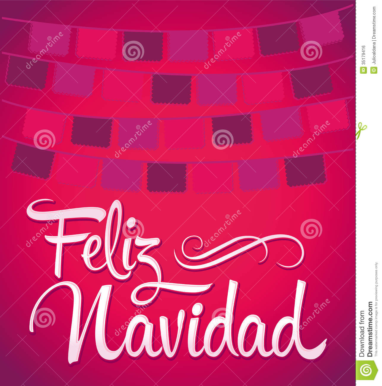 Feliz navidad merry christmas spanish text vector calligraphic
