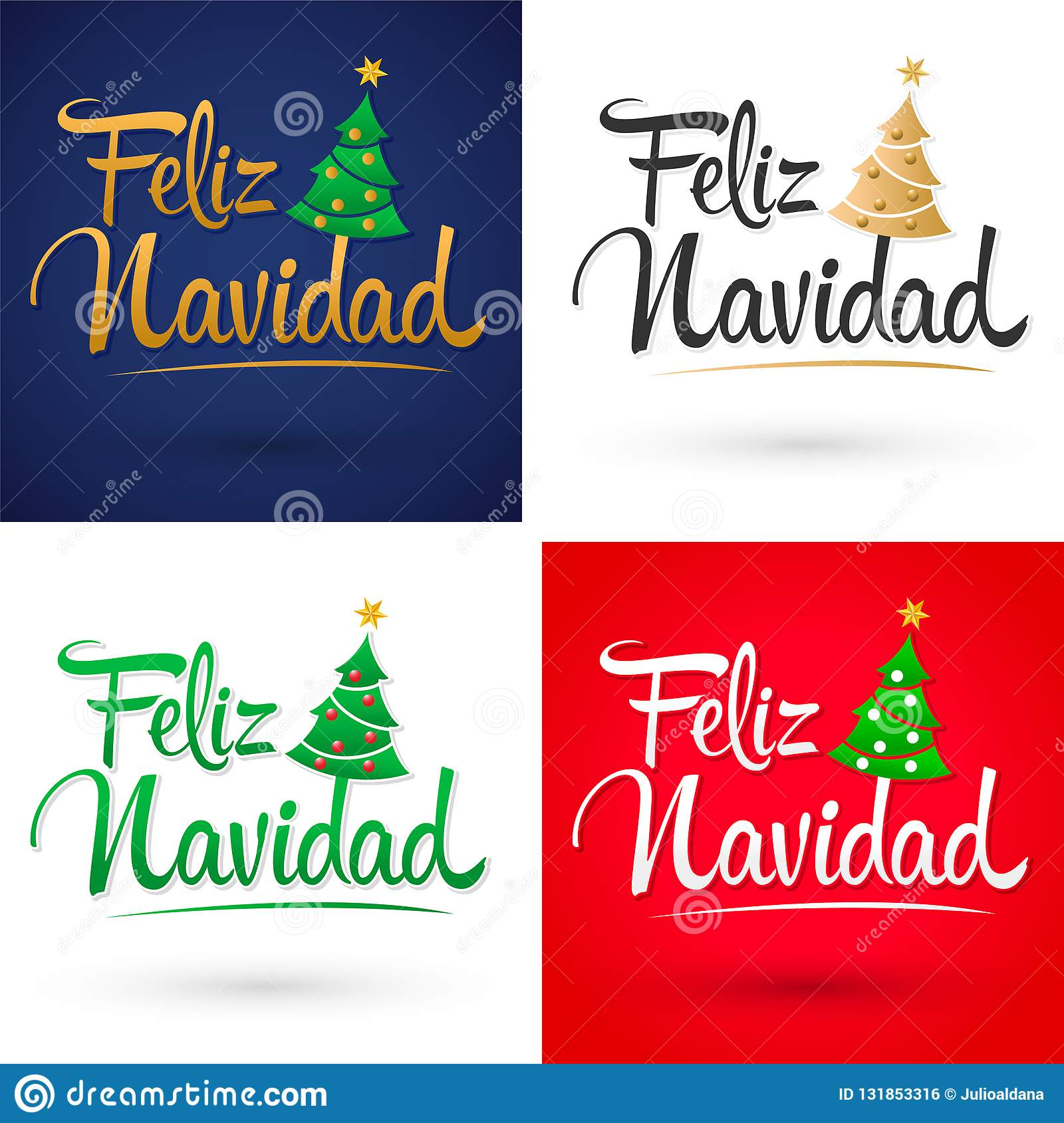 Feliz Navidad, Merry Christmas Spanish Text Vector ...