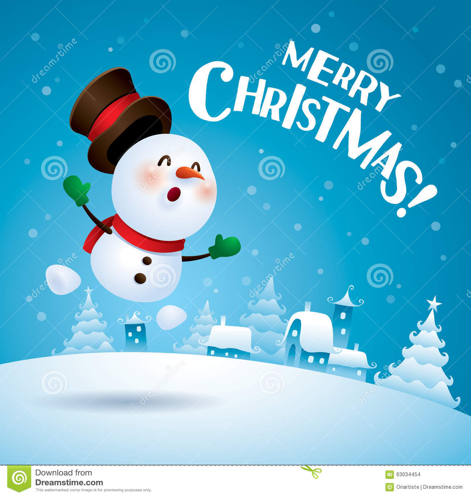 ¡Feliz Navidad! Muñeco de nieve que siente excitado