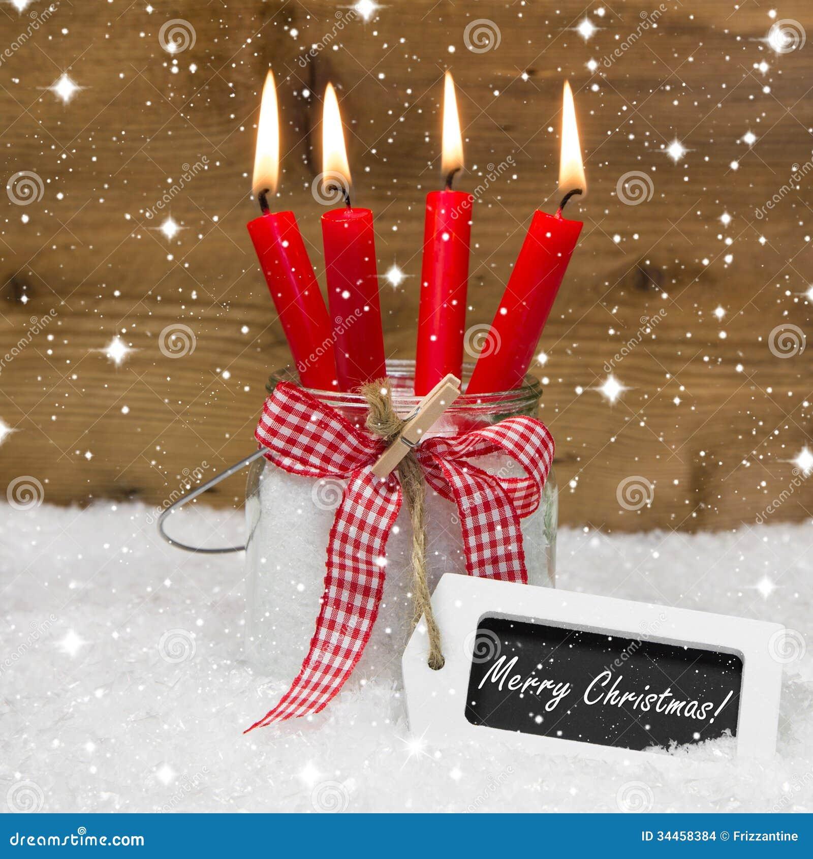feliz navidad nevado cuatro velas ardientes rojas conmigo. Black Bedroom Furniture Sets. Home Design Ideas