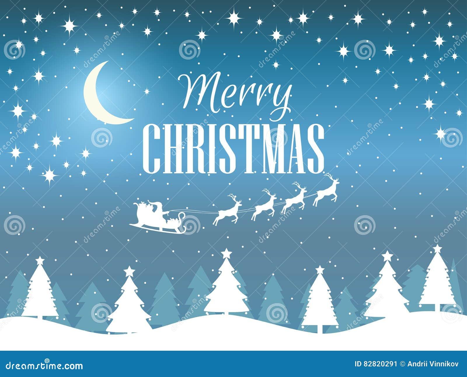 Feliz Navidad Paisaje Del Invierno Con Los Copos De Nieve Y Los ...