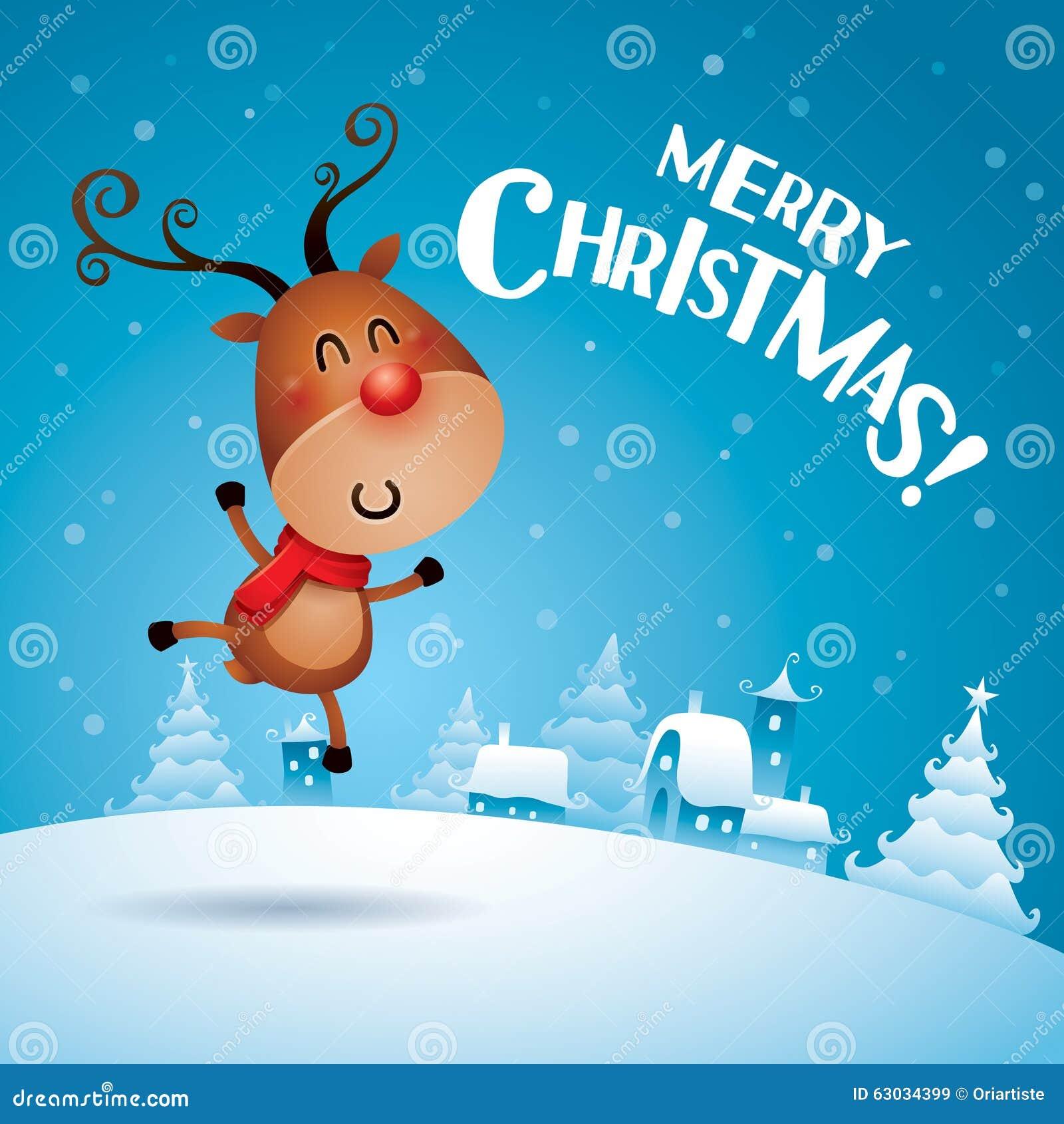 ¡Feliz Navidad! Rudolph Reindeer que siente excitado