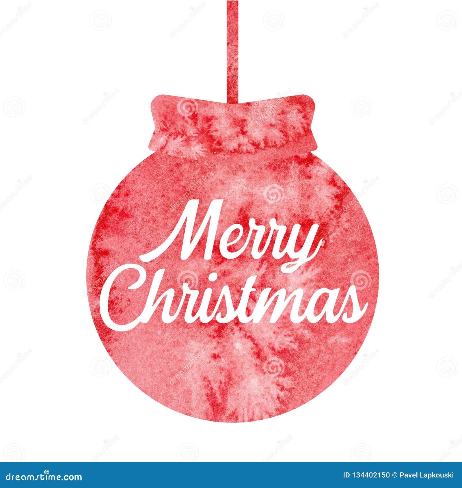 Feliz Navidad Saludo de la tarjeta de Navidad con la bola roja de la Navidad watercolor