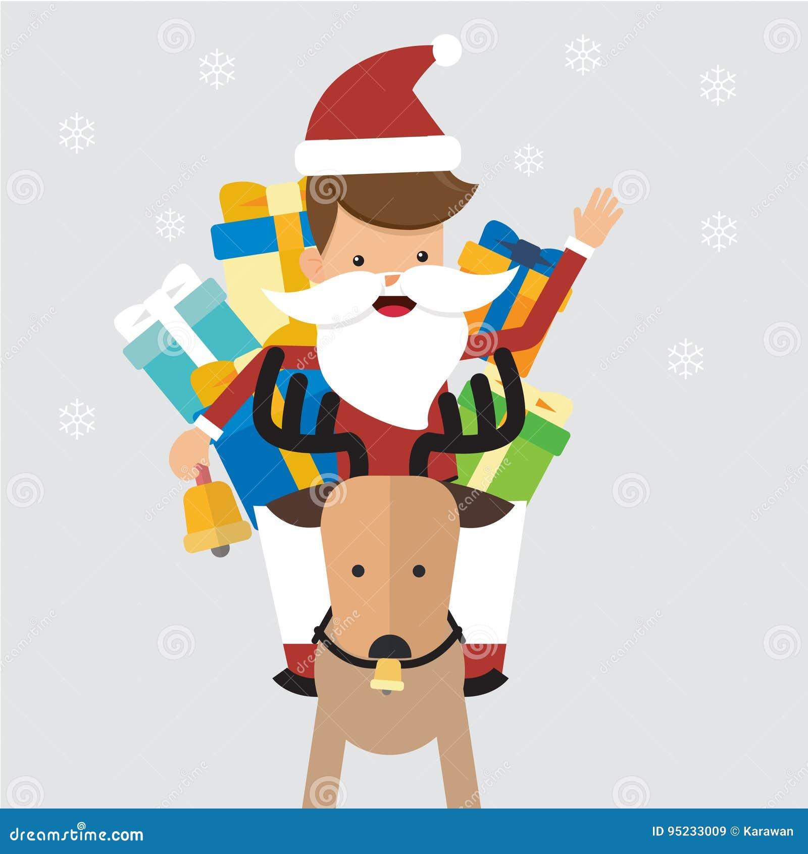 Presentaciones Feliz Navidad.Feliz Navidad Santa Claus Con El Reno Y Los Regalos Estilo