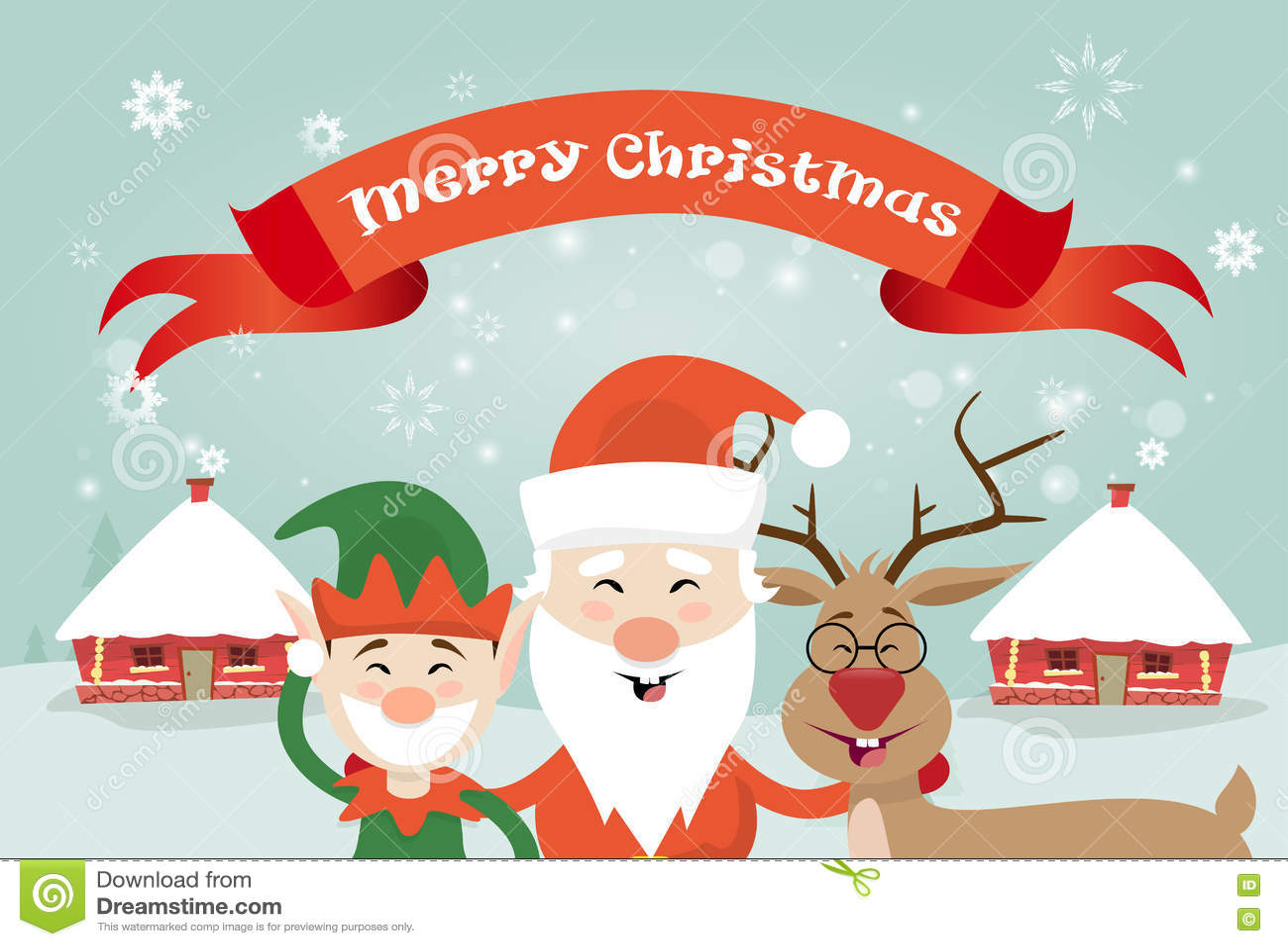 feliz navidad santa clause reindeer elf character sobre tarjeta de felicitacin del cartel del pueblo de