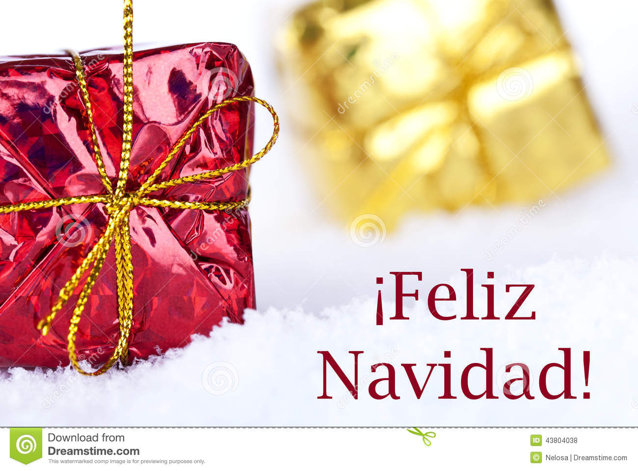 Feliz Navidad In The Snow With Gifts Stock Photo Image Of Gift