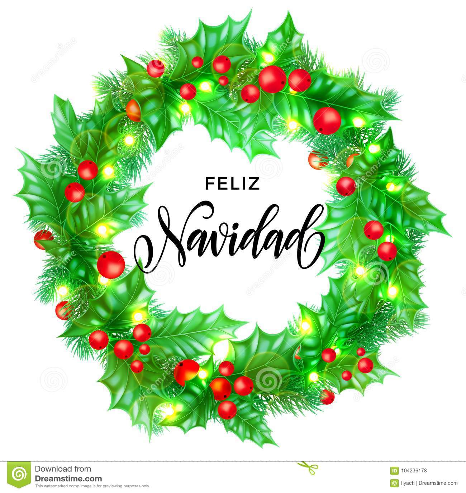 Feliz Navidad Spanish Merry Christmas Hand Drawn Calligraphy In