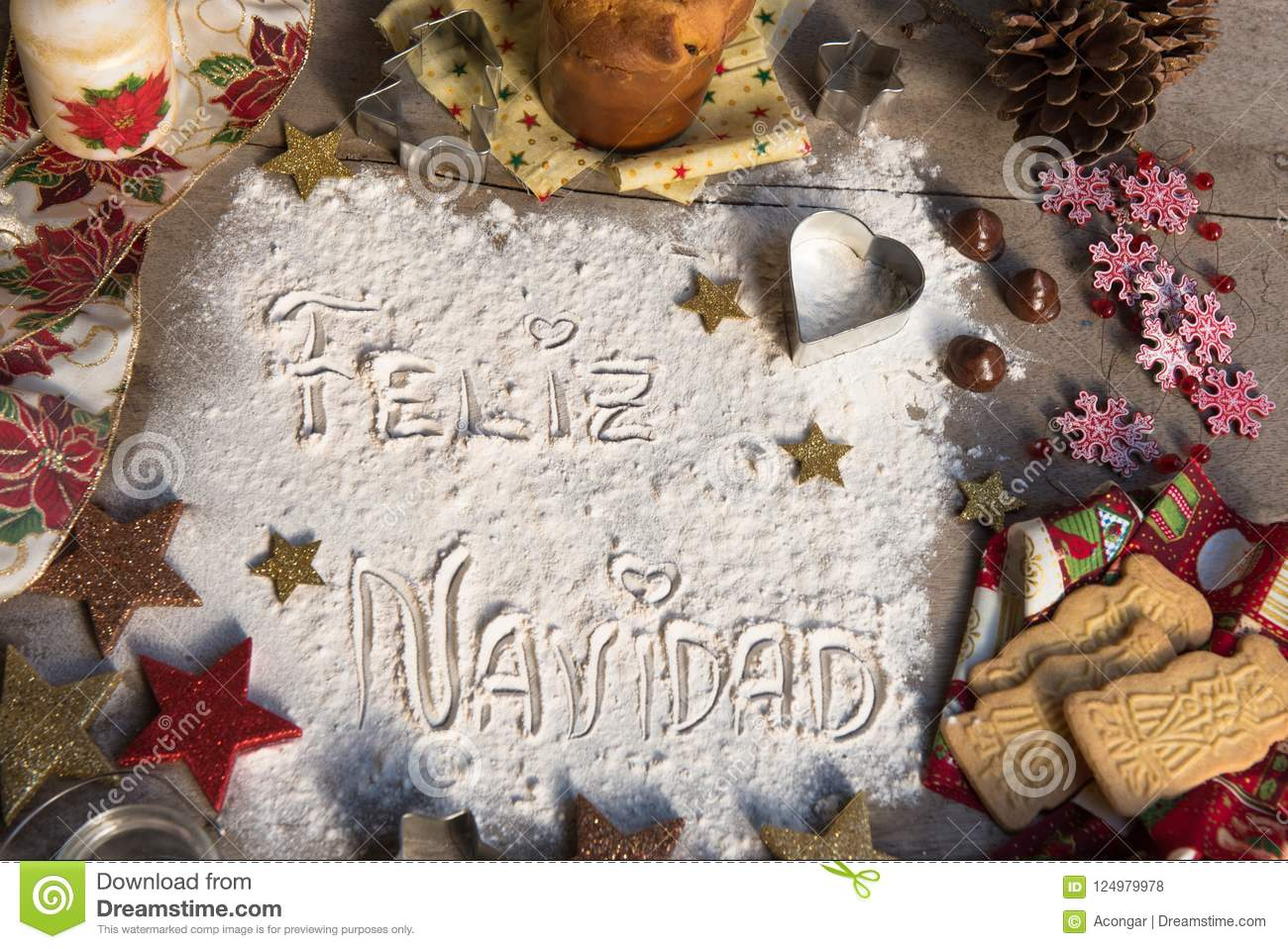 Feliz Navidad, Spanish Text Made With Flour, Surrounded By ...