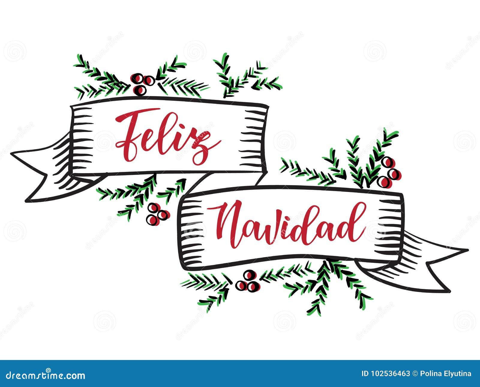 Feliz Navidad` Spanish Typography Lettering. Stock Vector ...