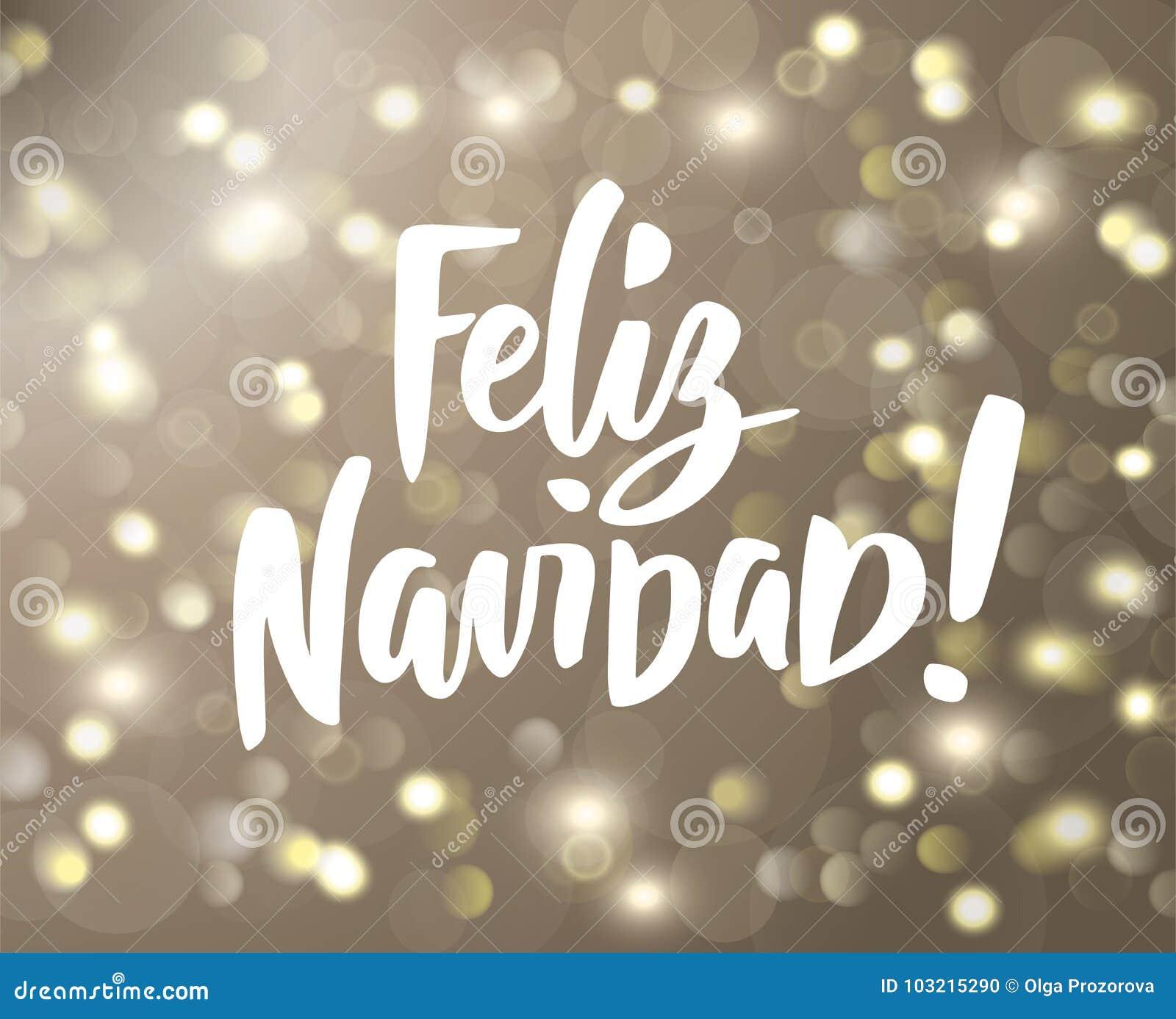 Feliz Navidad Text Holiday Greetings Spanish Quote Isolated On