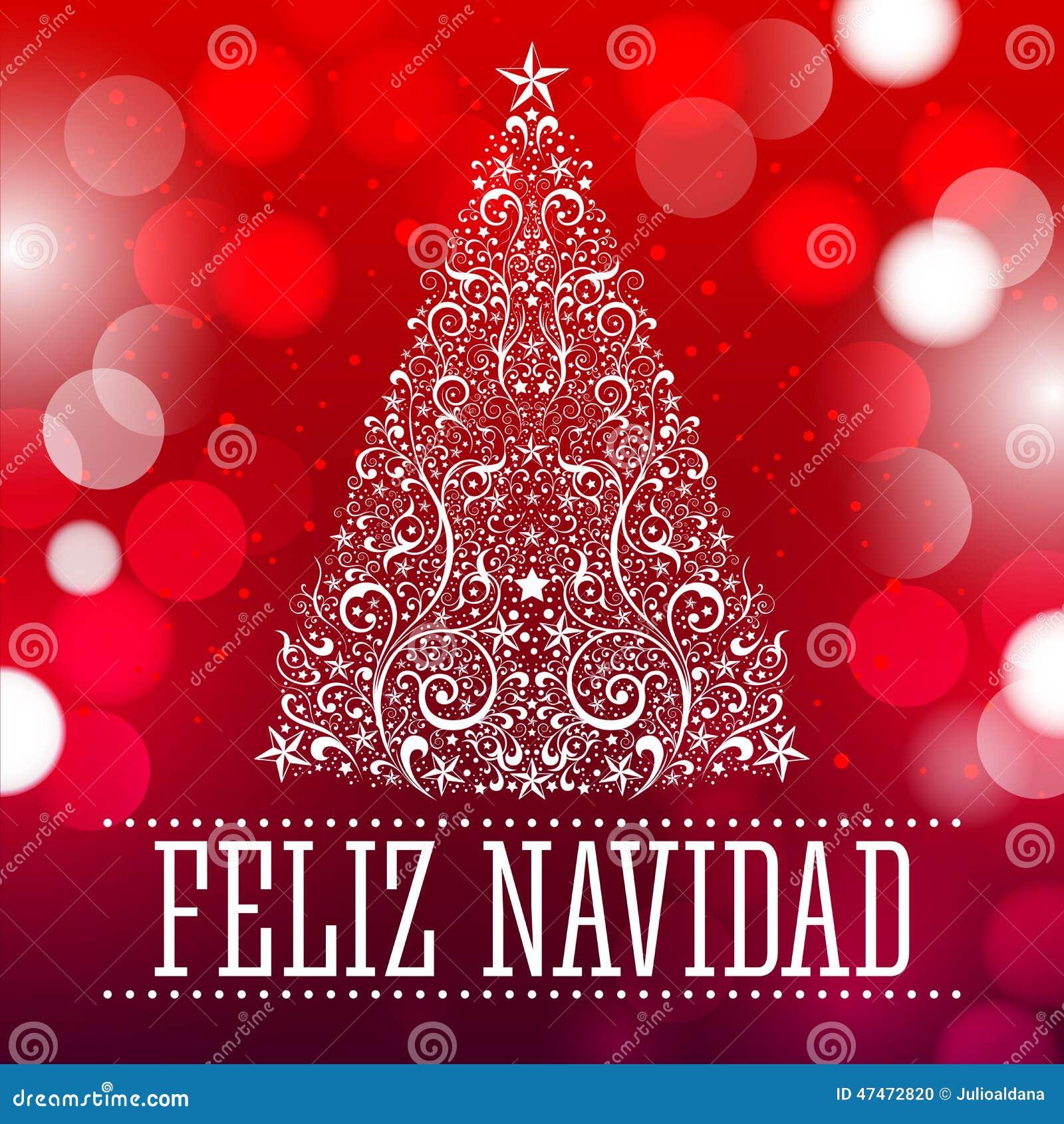 Feliz navidad texte d 39 espagnol de joyeux no l illustration de vecteur - Sapin de noel en espagnol ...